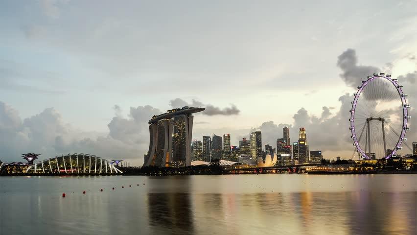 SINGAPORE - Sunset Marina Bay Sands Singapore  09 Jun 2016 Timelapse