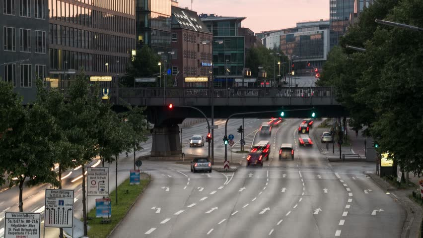 Timelapse of cars on an urban road in Hamburg City Germany