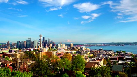 Aerial view of Seattle with Mount Rainier in background