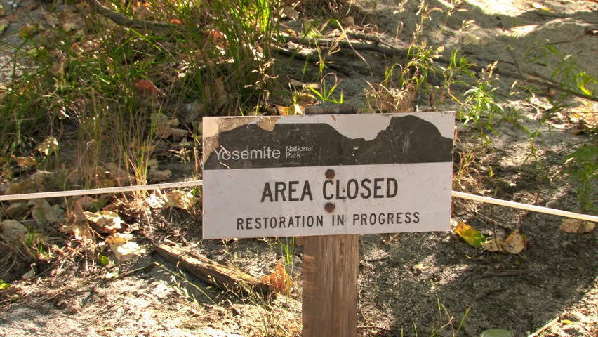 Yosemite National Park area closed sign
