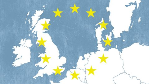 Brexit - United Kingdom exit from European Union - textured map with 12 stars and an animated smoke effect