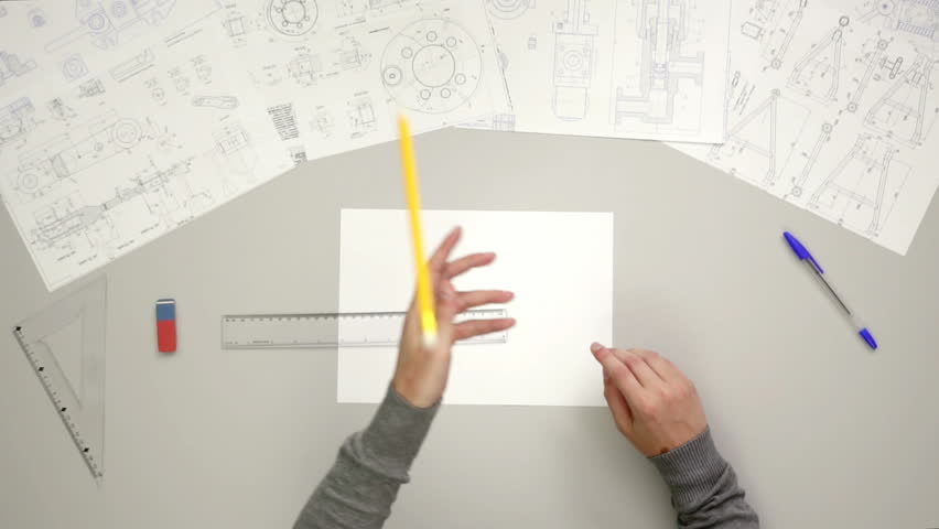 2 in 1 video!The hand catch pencil and work with blueprint engineer project. Wide angle. variable playback speed capture | Shutterstock HD Video #18053848