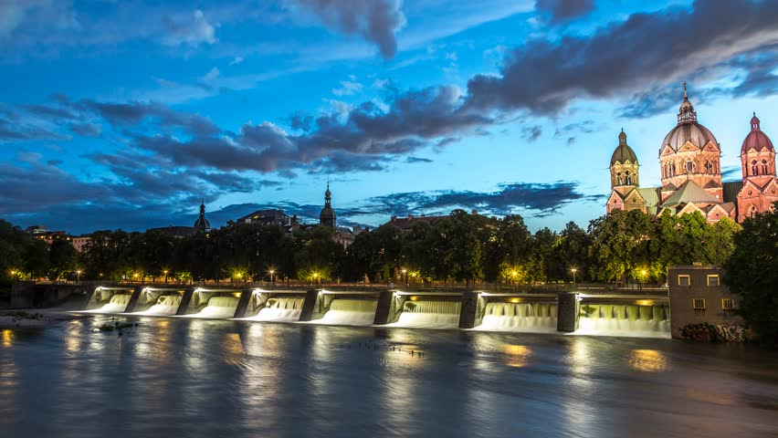 Munich - Isar river and St. Lukas Church 4K timelapse, day to night lapse.