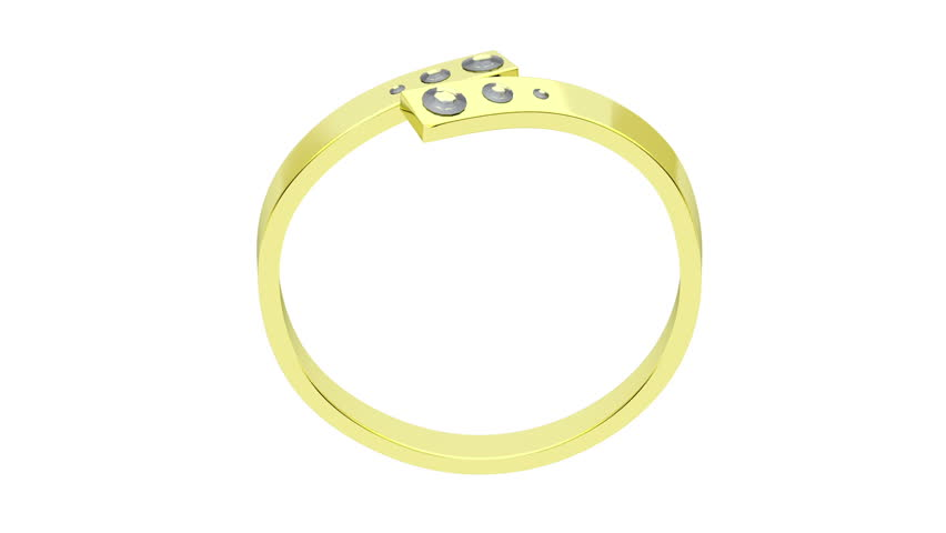 Golden Ring With Diamonds Rotates White Background Stock