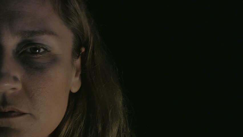 Portrait of a abused depressive woman
