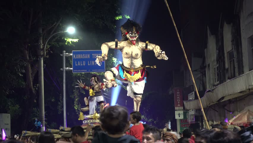 Ogoh-Ogoh parade preceding Nyepi in Denpasar Indonesia, 8th of March 2016   Shutterstock HD Video #18114298