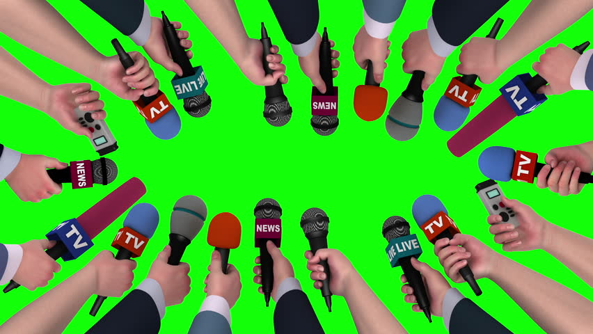 Hands holding microphones and voice recorders on chroma key, 3D animation #18115798