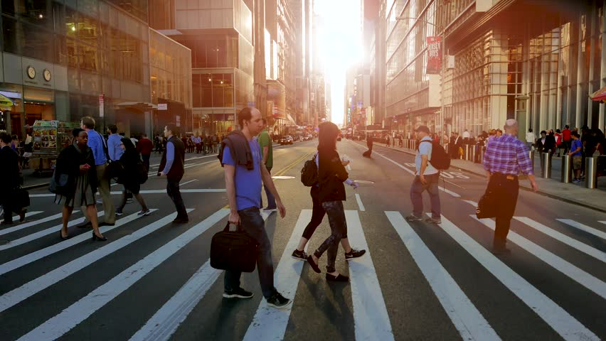 NEW YORK - MAY: 2016, pedestrians walking on crowded city street. people commuting background | Shutterstock HD Video #18146863