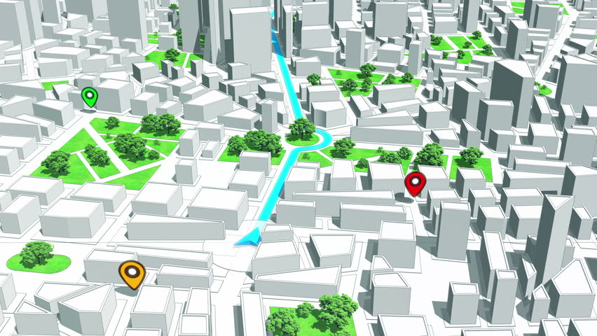 GPS Navigation, Localization. Seamless loop. 3D view. 4k, Ultra HD, UHD.