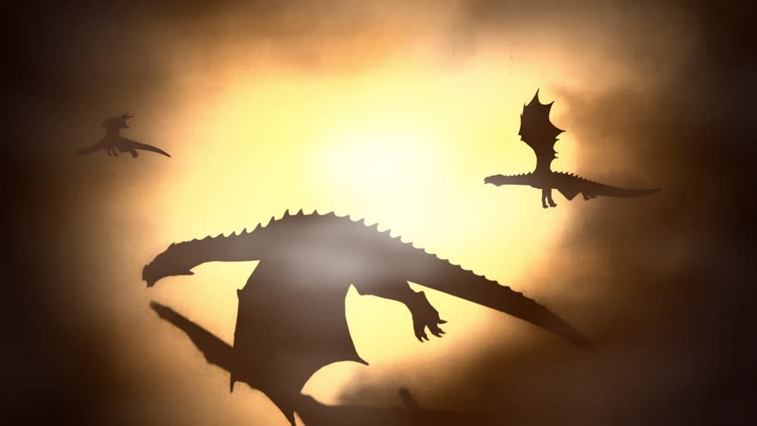 Silhouette of a Herd of Dragon Flying Against the Sun Waving their Wings | Shutterstock HD Video #18201598