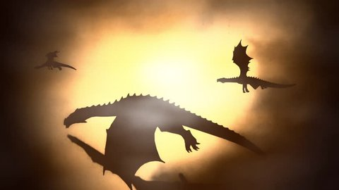 Silhouette of a Herd of Dragon Flying Against the Sun Waving their Wings