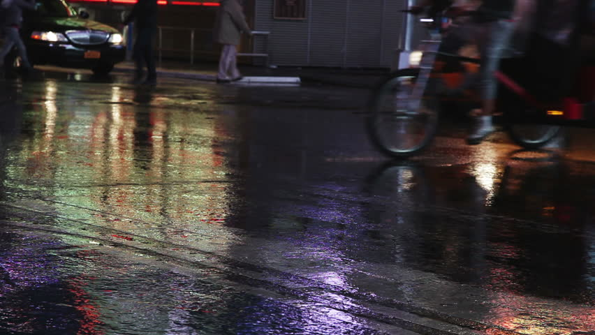 Bike And Car Red Reflections On A Puddle Of Rain Stock Footage