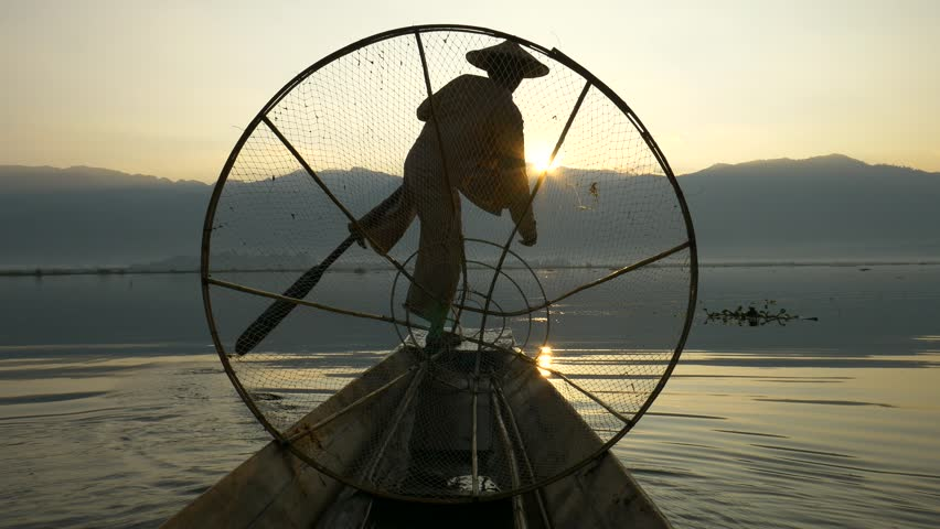 Silhouette fishermen in Inle Lake at sunset, Shan State, Myanmar | Shutterstock HD Video #18213688