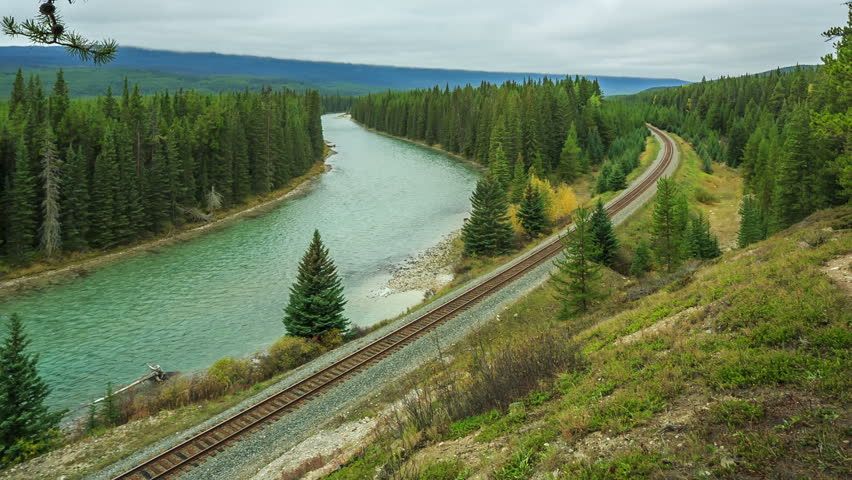 Cargo train passing near Bow River at Morants Curve,Banff National park, Alberta, Canada