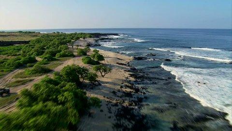 Low pass aerial of the Kona coastline, Hawaii