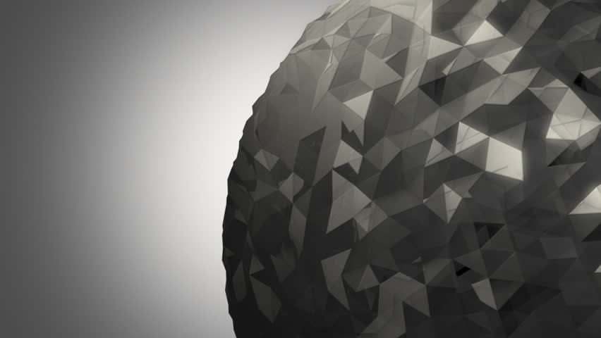 A rotating gray orb made of reflective random pieces of charcoal glass against a subtle off white background. | Shutterstock HD Video #18238339