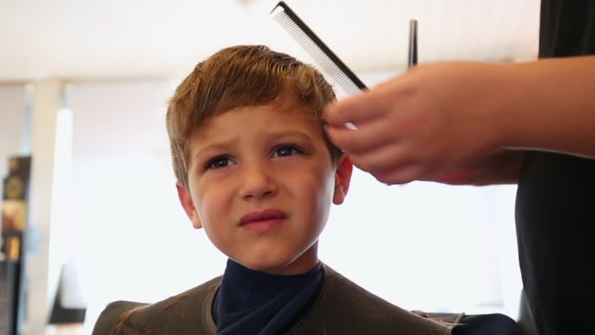 Young Boy Having A Haircut At The Barbershop Kid Getting Stock Footage Video 18270988