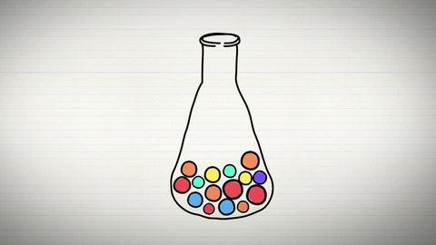 Animation of chemistry and sciences subject with laboratory test tube creating elements and molecule equation icon and doodle in notebook background used for education introduction 4k