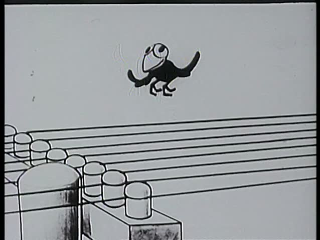 Cartoon of bird plucking telephone lines like guitar strings