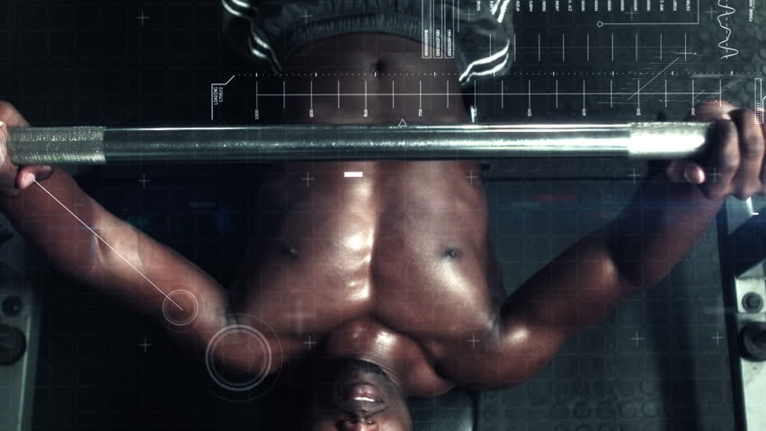 Slow motion of African-american bodybuilder lifting heavy barbell weights against animated background #18323788