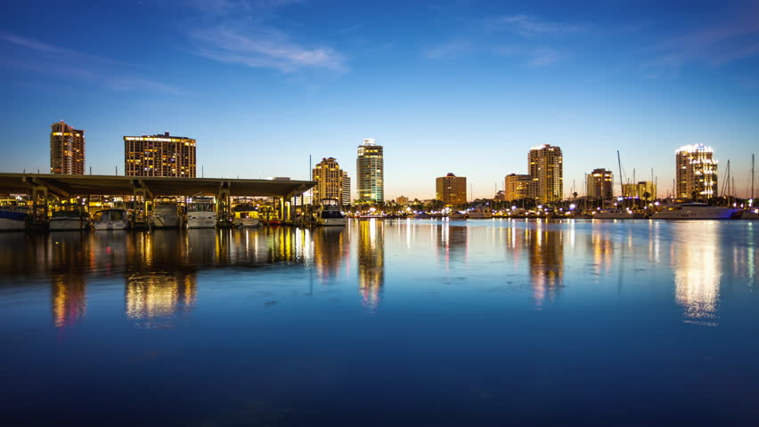 St. Petersburg, Florida Skyline and Marina Cityscape - Time Lapse