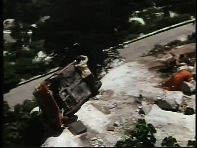 Stock Footage Car Crash Cliff