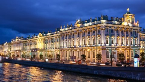 SAINT PETERSBURG, RUSSIA - JULY 2016: Hermitage (winter palace) at dusk, view from Palace bridge.