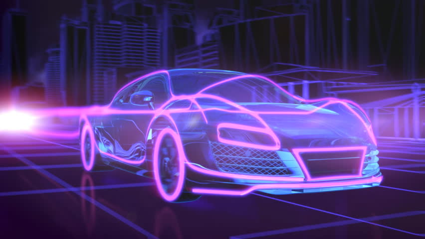 Abstract animation of a futuristic blue car with red highlights in 4K UHD | Shutterstock HD Video #18444820