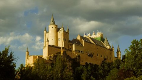 Middle age castle, romantic cinderella style medieval fortress