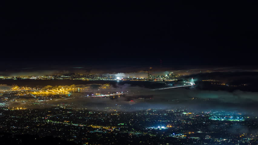San Francisco and Oakland With Fog Night Timelapse