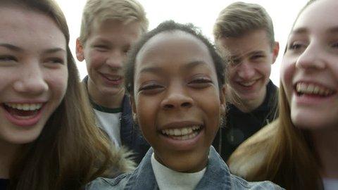 Teenagers Taking Selfie On Mobile Phone Shot On R3D