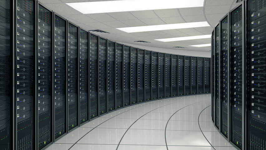 Seamlessly Looping Animation Of Rack Servers In Data Center Stock ...
