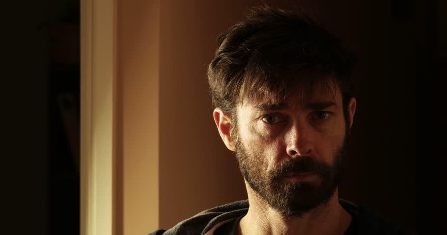 depressed sad man crying portrait - 4K stock video clip