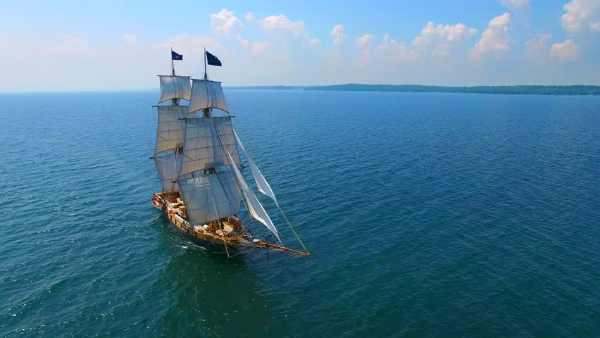 Tall ship at sea, majestic vessel sailing in open waters.  | Shutterstock HD Video #18597158