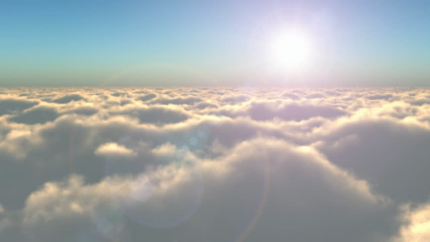 Scenic flight above the clouds towards the sun | Shutterstock HD Video #1860406