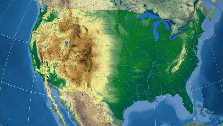 Nevada Region Extruded On The Physical Map Of United States Rivers
