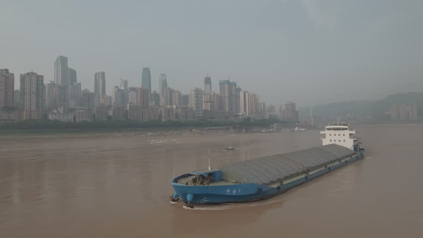 CHONGQING CHINA JUNE Aerial Drone Shot Flying Along A - Third longest river in the world