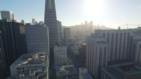4K Aerial view san francisco downtown going up transamerica building