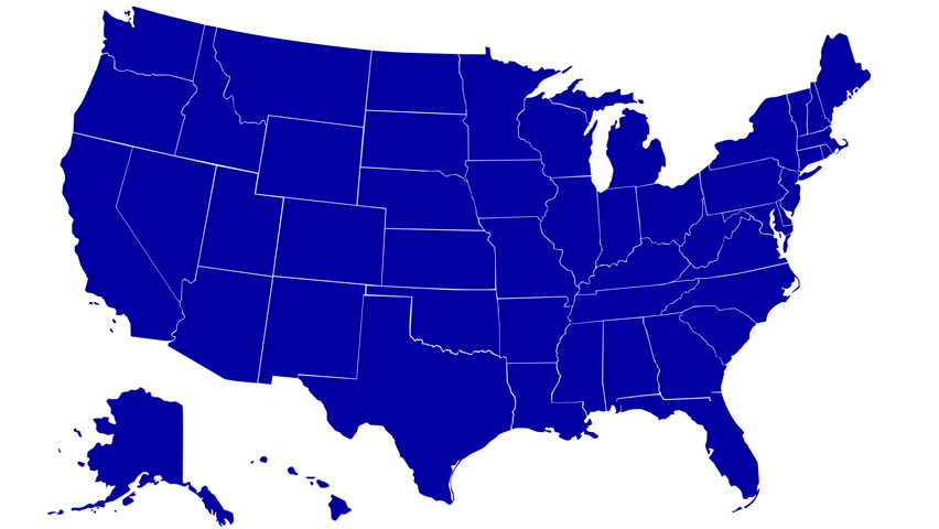 State Of Florida Map Reveals From The USA Map Silhouette Animation - Map of us hd