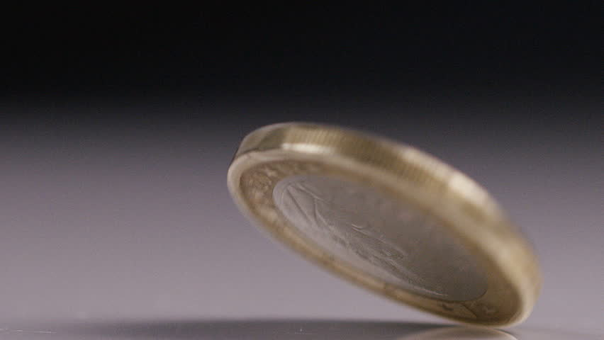 One Spanish Euro coin spinning in slow motion
