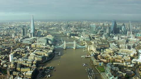 Aerial View of London Tower Bridge skyline UK