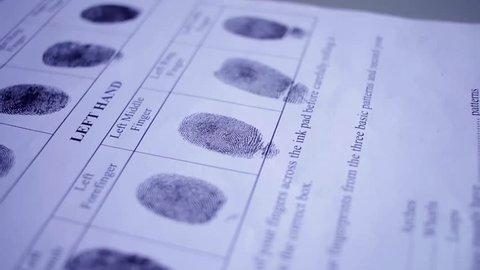 Fingerprint on police fingerprint card