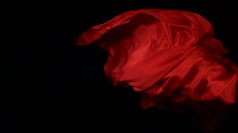 Flowing red velvet cloth