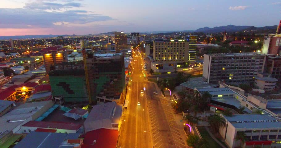 Aerial view drone video of Windhoek Independence Avenue and Ausspannplatz area, ready for Christmas December festivities in Namibia