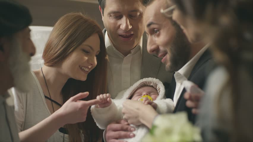 Happy family playing with little child with happy emotions and celebrating his birthday.  Shot on RED EPIC Cinema Camera in slow motion.  | Shutterstock HD Video #18805499