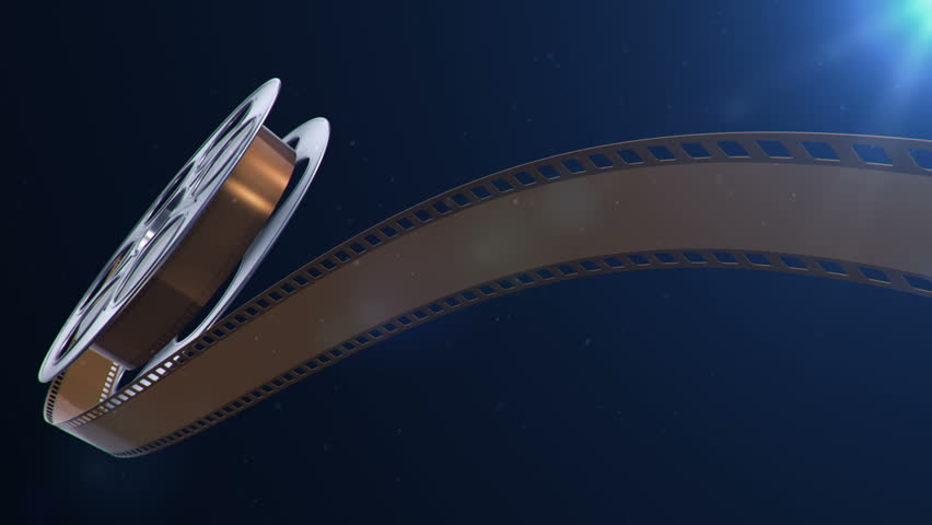 Animation of film reel in abstract movie theater. Have variants with clapper board. Animation of seamless loop.