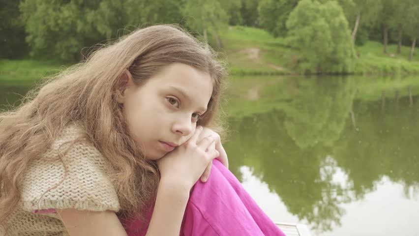 Beautiful Little Sad Girl Is Stock Footage Video 100 -8546
