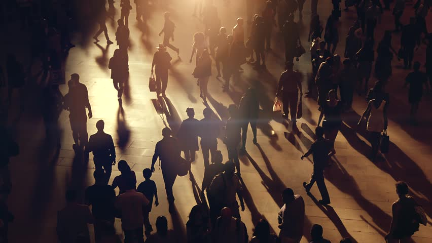 Silhouette of anonymous people walking in the city. business commuters traveling background. urban metropolis lifestyle scenery | Shutterstock HD Video #18919028