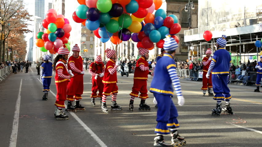 NEW YORK CITY, NY - NOVEMBER 24: Roller skating Clowns in Macy's Thanksgiving Day Parade on November 24, 2011 in New York City, New York.
