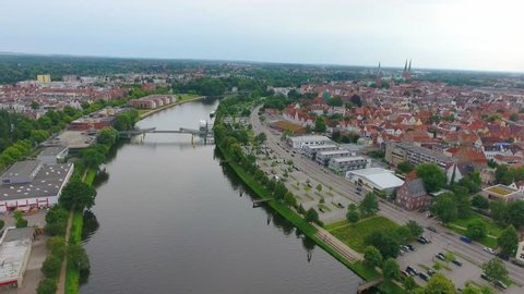 Lubeck panoramic aerial view, Germany.